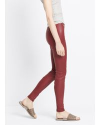 VINCE | Red Leather Legging With Ankle Zip | Lyst