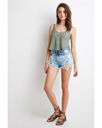 Forever 21 | Green Open-knit Crop Top | Lyst