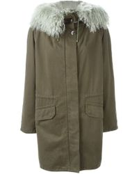 Army by Yves Salomon | Green Lined Hooded Parka | Lyst