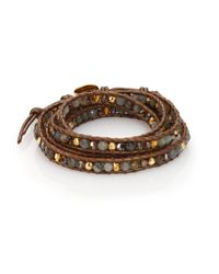 Chan Luu | Brown Mystic Labradorite, Crystal & Leather Multi-row Beaded Wrap Bracelet | Lyst