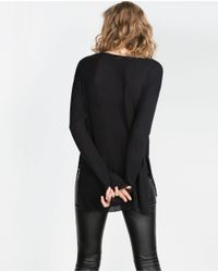 Zara | Black Golden Front Top | Lyst