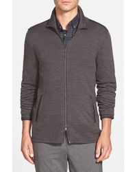 John Varvatos | Gray Merino Wool Blend Knit Zip Sweater With Leather Trim for Men | Lyst
