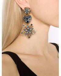 Oscar de la Renta - Blue Stars And Heart Clip Earring - Lyst