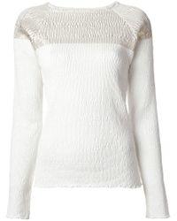 SUNO | White Crinkled Texture Gold Print Sweatshirt | Lyst