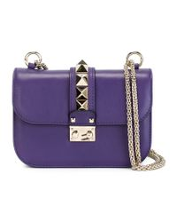 Valentino - Purple Glam Lock Leather Shoulder Bag - Lyst