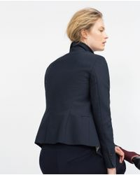 Zara | Blue Double Fabric Blazer | Lyst