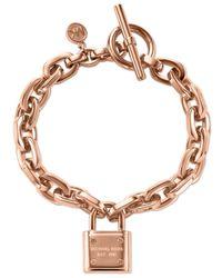 Michael Kors | Metallic Rose Gold-Tone Chain And Logo Padlock Bracelet | Lyst