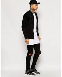ASOS - Black Jersey Bomber With Flock Animal Print for Men - Lyst