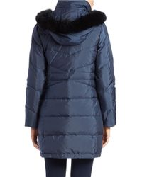 Ellen Tracy | Blue Fox Fur-trimmed Coat | Lyst