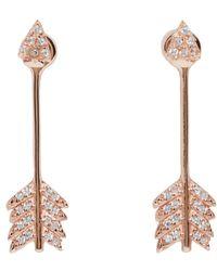 Pamela Love - Pink Rose Gold Shooting Arrow Earrings - Lyst