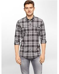 Calvin Klein | Black Jeans Slim Fit Blurred Plaid Shirt for Men | Lyst