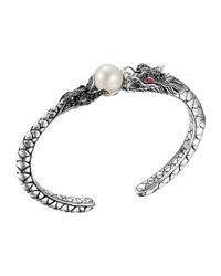 John Hardy | Metallic Naga Silver Lava Small Cuff With Pearl & Black Sapphire | Lyst