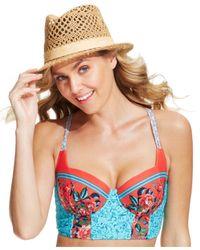 Blush By Profile - Blue Bustier Cross-Tied D-Cup Bikini Top - Lyst