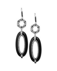 Judith Jack | Metallic Sterling Silver Marcasite 415 Ct Tw Onyx 48710 Ct Tw and Cubic Zirconia 310 Ct Tw Double Drop Earrings | Lyst