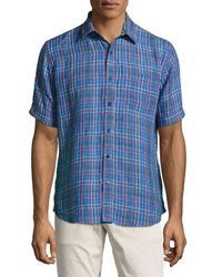 Neiman Marcus - Blue Regular-fit Linen Windowpane-check Sport Shirt for Men - Lyst