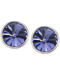 Givenchy - Metallic Silver-tone Blue Crystal Stud Earrings - Lyst