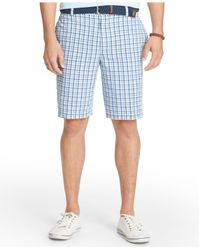 Izod | Blue Flat-front Plaid Seersucker Shorts for Men | Lyst