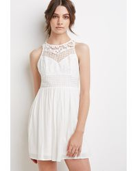 Forever 21 | White Embroidered Crepe Combo Dress | Lyst