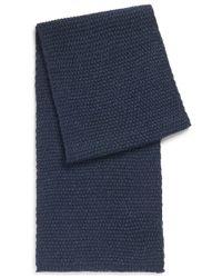 HUGO - Blue 'zirisho' | Virgin Wool Silk Blend Textured Scarf for Men - Lyst