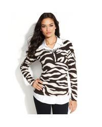 INC International Concepts - Multicolor Layered-look Animal-print Sweater - Lyst