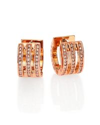 Michael Kors | Pink Motif Pave Bar Rose Goldtone Huggie Hoop Earrings/0.35 | Lyst