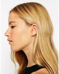 ASOS - White Sterling Silver Mini Crystal Ear Cuff - Lyst