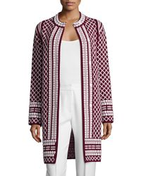Tory Burch - Red Long Jacquard Sweater Coat - Lyst