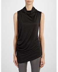 JOSEPH - Black Silk Interlock High Neck Tank - Lyst