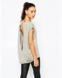 Daisy Street - Gray Space Dye Top With Open Drape Back - Grey - Lyst