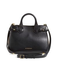 Burberry | Black 'small Banner' Leather Tote | Lyst