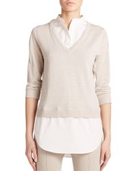 Akris Punto | Natural Poplin-inset Wool Sweater | Lyst