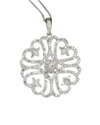 Lord & Taylor | 14 Kt. White Gold Diamond Pendant Necklace | Lyst