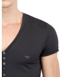 Emporio Armani - Black Printed Techno Jersey Pajama Set for Men - Lyst