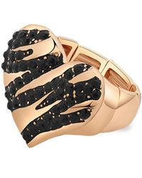 Guess | Metallic Gold-tone Black Stone Stripe Heart Stretch Ring | Lyst