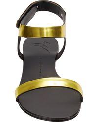 Giuseppe Zanotti - Metallic Plated Anklestrap Flat Sandals - Lyst