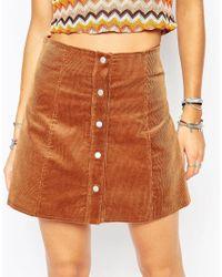 Glamorous | Brown Cord A-line Buttonthrough Mini Skirt | Lyst