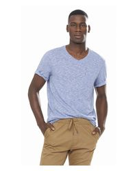 Express | Blue Twisted Slub V-neck Pocket Tee for Men | Lyst