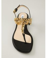 Moschino | Black Logo Chain Sandals | Lyst