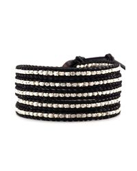 Chan Luu | Metallic Sterling Silver Wrap Bracelet On Black Leather | Lyst