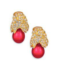 Kenneth Jay Lane | Metallic Sparkle-capped Drop Clip Earrings | Lyst
