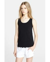 Burberry Brit | Black Stretch Cotton Scoop Neck Tank | Lyst