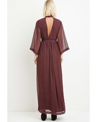 Forever 21 - Purple Sequin Chiffon Maxi Dress - Lyst