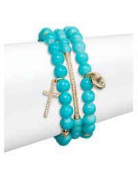 Saks Fifth Avenue - Blue Pavé Blessed Charm Beaded Bracelets/set Of 3 - Lyst
