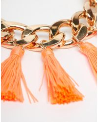 Monki - Orange Billie Chain And Tassel Bracelet - Lyst