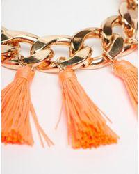 Monki | Orange Billie Chain And Tassel Bracelet | Lyst