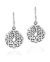 Aeravida | Metallic Round Celtic Heart Knot .925 Silver Dangle Earrings | Lyst