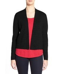 Eileen Fisher | Black Short Rib Knit Merino Wool Cardigan | Lyst