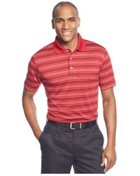 PGA TOUR - Red Striped Performance Golf Polo for Men - Lyst