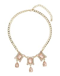 Mikey | Brown Square Crystal With Danging Stones Neck | Lyst