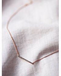 Free People | Black Zoe Chicco Womens Diamond Bar Necklace | Lyst